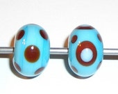 6 turquoise and chocolate lampwork beads RESERVED for mermaidsnfairies