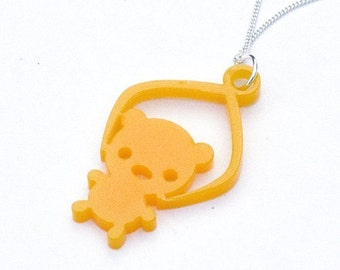 Toy Grabber Necklace yellow Bear - laser cut acrylic jewelry