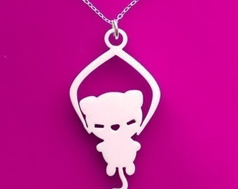 Toy Grabber - Cat Necklace White