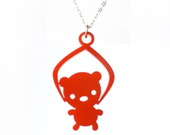 Toy Grabber Necklace Bear- Red