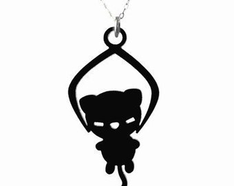 Toy Grabber Kitty Necklace - Black