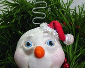 SALE Snowman ornament paper clay Chistmas MHA TDozier