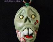 Zombie monster head pendant ooak TDozier