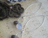 Smoky blue long briolette earrings with small hoops in sterling silver with blue chalcedony and grey labradorite