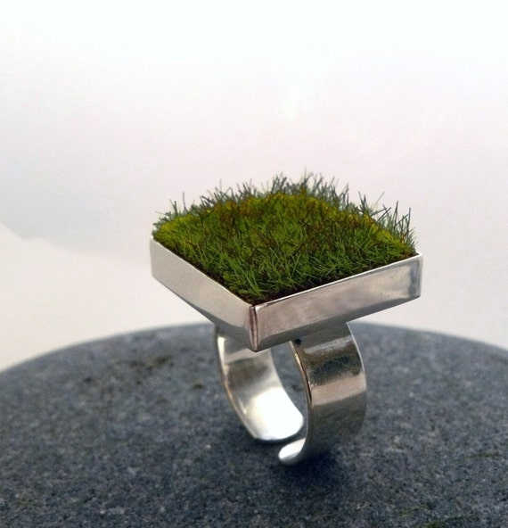 RESERVED Gather, Square Moss Ring