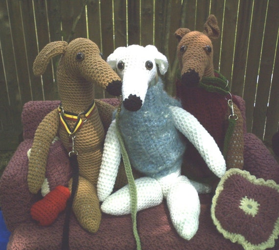 Little GREYHOUND DOLLS Crochet Pattern Whippet Dog by AerieDesigns