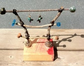 HANDMADE JEWELRY DISPLAY...Jewelry organizer....Twig ladder for earring display... a functional piece of sculpture.