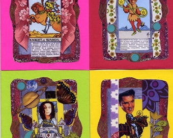 Rock and Roll Tarot Greeting Cards, Little Richard, Michael Jackson, Elvis, David Bowie, blank inside, with envelopes, rock and roll, cards