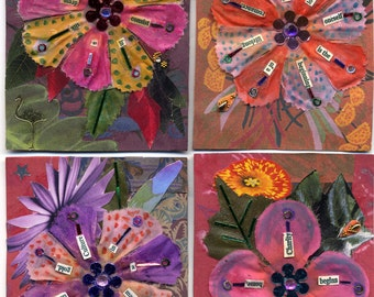 The Bloom Cards...  a set of 4 cards with colorful flowers,original art, flower cards blank inside,note cards with flowers and quotes,floral
