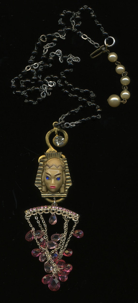 HANDMADE JEWELRY PENDANT...The Fortune Teller.. handmade pendant with mysterious exotic face charm of a woman who must be a fortune teller.