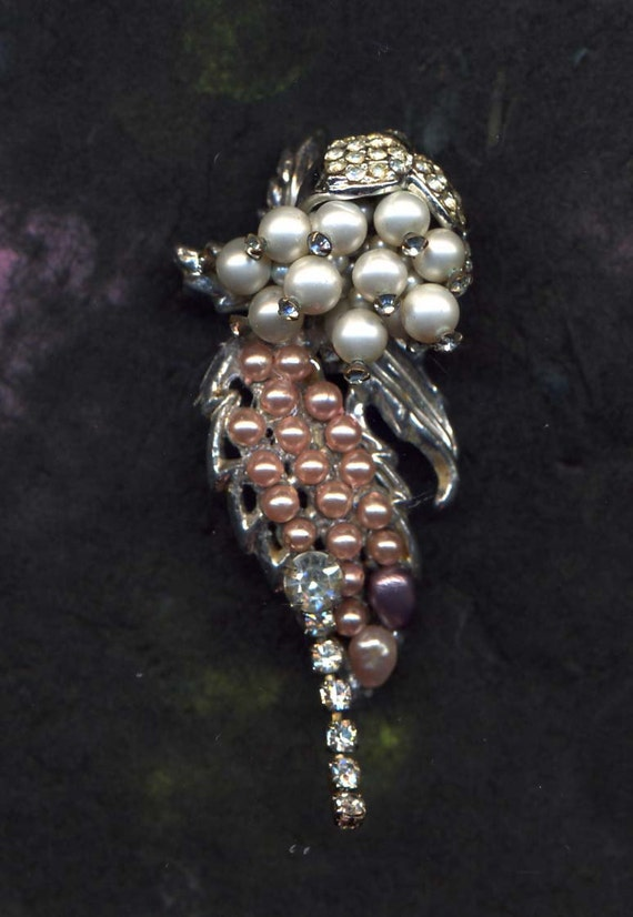 HANDMADE JEWELRY BROOCH...A Breath of Springtime  handcrafted brooch...dripping with pearls.