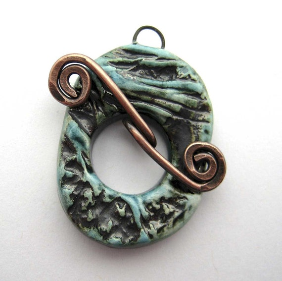 Handmade Ceramic Toggle Clasp Waves and Flowers