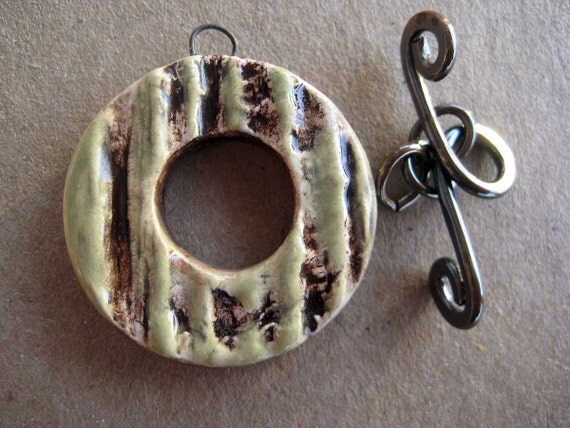 Toggle  Clasp - 1850's Barn Wood - Ceramic -