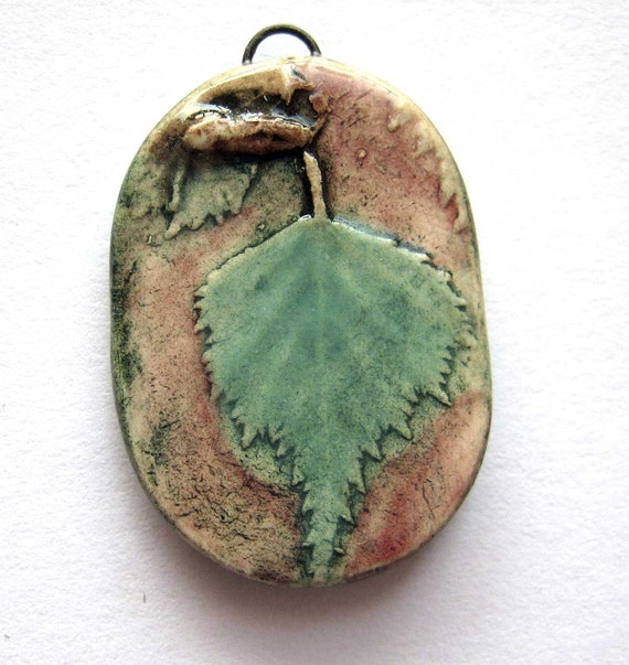Handmade Pendant  Birch Leaf  Ceramic
