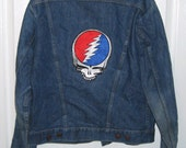 Recyled mens jean jacket with Steel patch