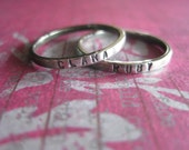 Hand Stamped Set of TWO Mothers Rings With Names
