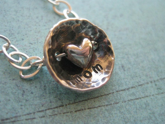 Hand Stamped MOM Necklace With Adorable Heart