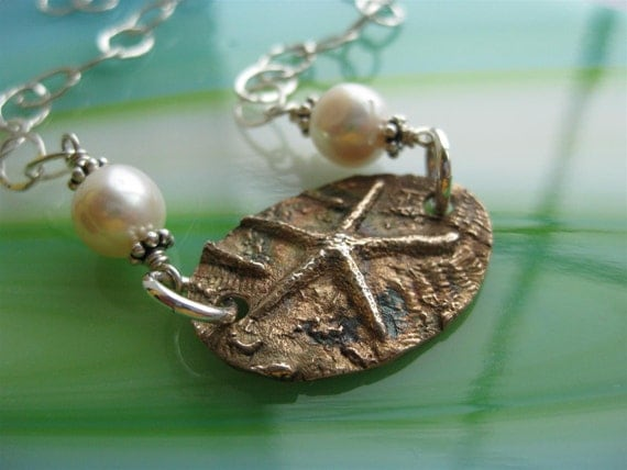The Starfish Story Adoption or Volunteer Symbol Bronze And Sterling Silver Necklace With Pearl