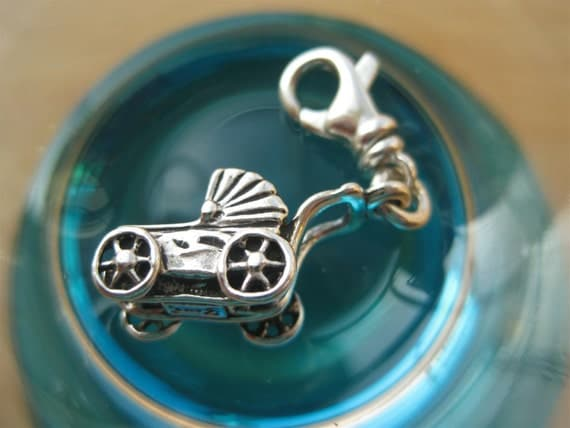 Sterling Silver Baby Carriage Charm Clip On Style With Lobster Clasp