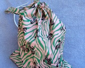 Drawstring PUL bag-  medium ZEBRA  Wet Bag or Project Bag