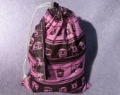 Drawstring PUL bag-  small PINK OWLS  Wet Bag or Project Bag