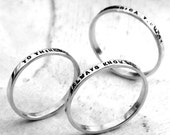 Thin Stacking Posey Ring - custom made ring with your choice of inscription in sterling silver by Kathryn Riechert (Tiny Text)