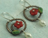 Red Flower Earrings - brass spirals with green enamel leaves and pearls - by Kathryn Riechert