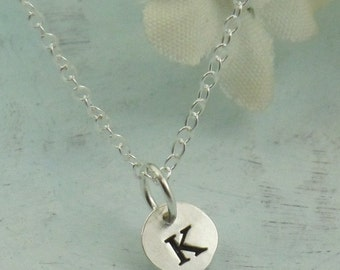 Letter Charm Necklace, custom made initial charm in sterling silver, small silver disc, initial jewelry by Kathryn Riechert