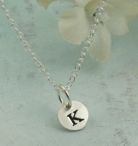 letter charm necklace custom made initial charm in sterling