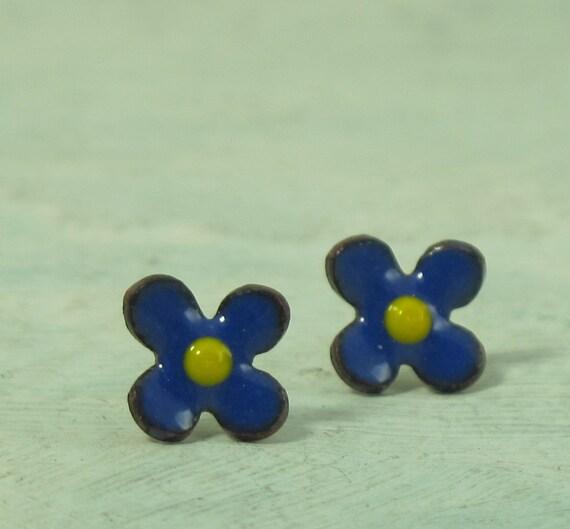 Blue Flower Stud Earrings - glass enamel on copper - by Kathryn Riechert
