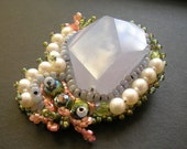 Embroidered Chalcedony Pin/Pendant