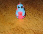 baby blue and hot pink polka dot monster charm