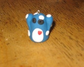 blue and white polka dots monster charm