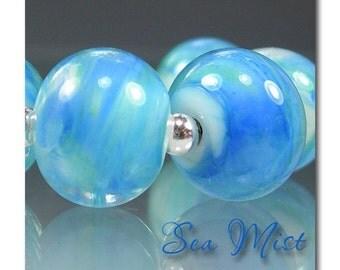 DarleenMB ~Sea Mist ~ 6 round artisan lampworked focal beads