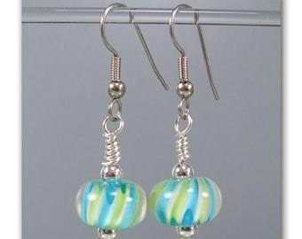 DarleenMB ~ Carnival Twist ~ handmade lampwork bead earrings