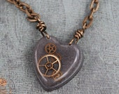 my grey mechanical heart steampunk necklace