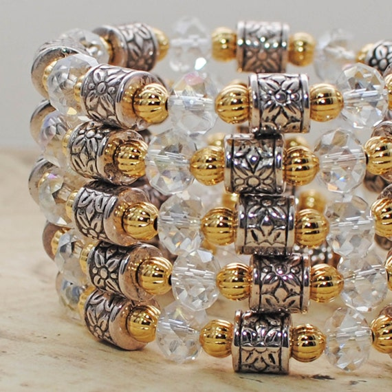 Crystal Gold Persuasion Wrap Around Bracelet Cuff