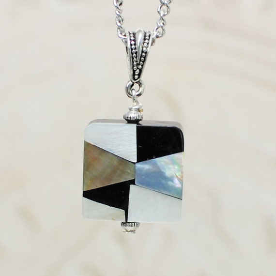 SALE Mosiac Mother of Pearl and Silver Pendant Necklace