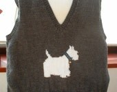 Hand knitted Westie dog sleeveless sweater