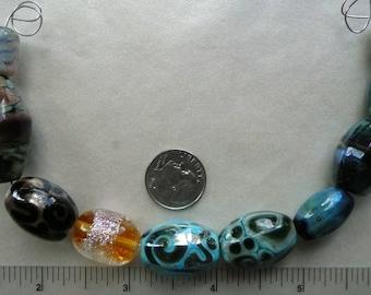 Lot of Artisan Made Lampwork Glass Focal Barrel Beads...Mixed Lot