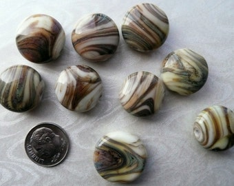Artisan Made Lampwork Bead Lot..Creamy Yellow, Green and Brown Lentils