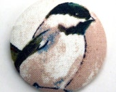 Chickadee Fabric Button - Large Round