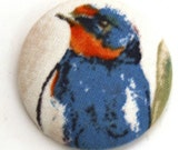 Barn Swallow Fabric Button - Large Round