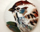 Sparrow Left Fabric Button - Large Round