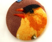 Goldfinch Fabric Button - Large Round