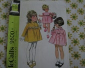 Vintage McCall's 1968 pattern girls size 3 for dress and coat