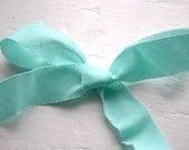 Aqua Blue Bias Cut Torn Edge Fabric Ribbon- 10 yards