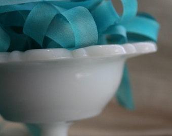 Blue Lillies Hand Dyed Silk Ribbon - 4 yds