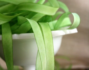 Celery Green Hand Dyed Silk Ribbon - 4 yds