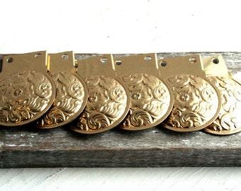 Goldtone flower vintage Jewelry Findings- Set of 6